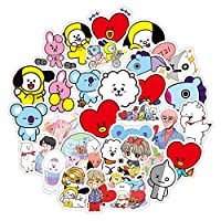 BTS Stickers 61-Pcs Pack Waterproof Vinyl Vintage Bumper Decals Perfect for Laptop Computer Car Skateboard Water Bottle Travel Case Guitar Luggage Motorbikes (Korea BTS)