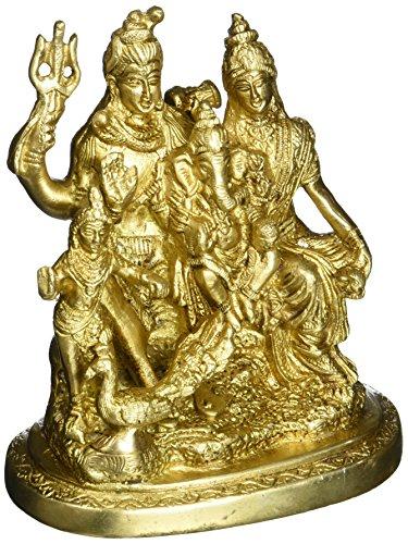 Shiva Parvati familia latón estatua india religiosa
