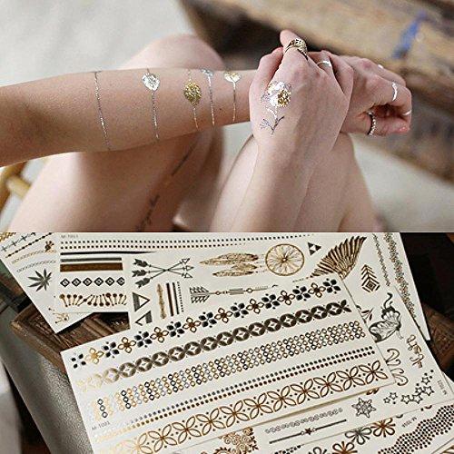 Pawaca Metallic Temporäre Tattoos 8 Sheets in Gold Silber Aufkleber Körper Gefälschte Schmuck Tattoos Temporäre Tätowierung Wasserdichte Über 100 Designs für Frauen Teens Girls