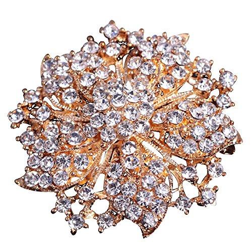 Contever Modeschmuck Fancy Broschen Damen Strass Bling Kristall Blühen Blume Gruppe Brosche Anstecknadeln -- Gold (Gold Wikinger Hut)