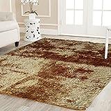 #5: Cloth Fusion Premuim Shaggy Carpet for Living Room 5 Feet x 7 Feet (Light Brown)