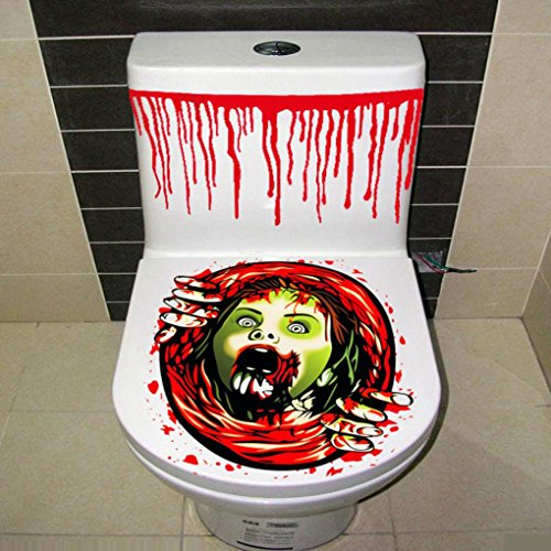 Halloween Zitate Scary (sunnymi Halloween Toilette Aufkleber,Party Dekoration Aufkleber,Bloody Hand Prop Scary Zombie WC Cover)