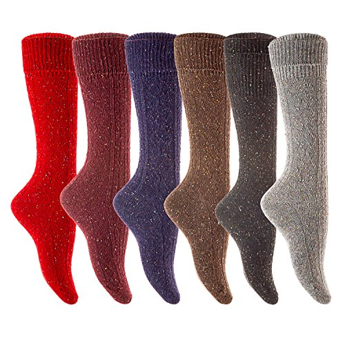 Lian LifeStyle Women's 6 Pairs Pack Knee High Wool Socks Size 7-9 6 Colors (Thorlo Wolle Merino)