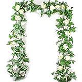 2pack blanc Guirlande de roses artificielles et vigne avec feuilles vertes