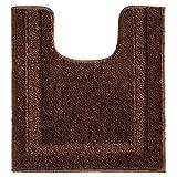 InterDesign Spa tapis toilettes, tapis contour WC antidérapant en polyester microfibre, marron