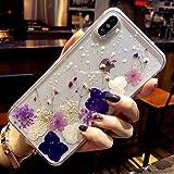 iPhone Xs Max Hülle Handyhülle Getrocknete blumen Kristall Gel Schutzhülle Ultradünn Handgefertigt Immerwährende Blume Bumper
