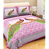 Pure Comfort 100% Pink Peacock Style Printed Desiner Double Bedsheet With 2 Pillow Cover