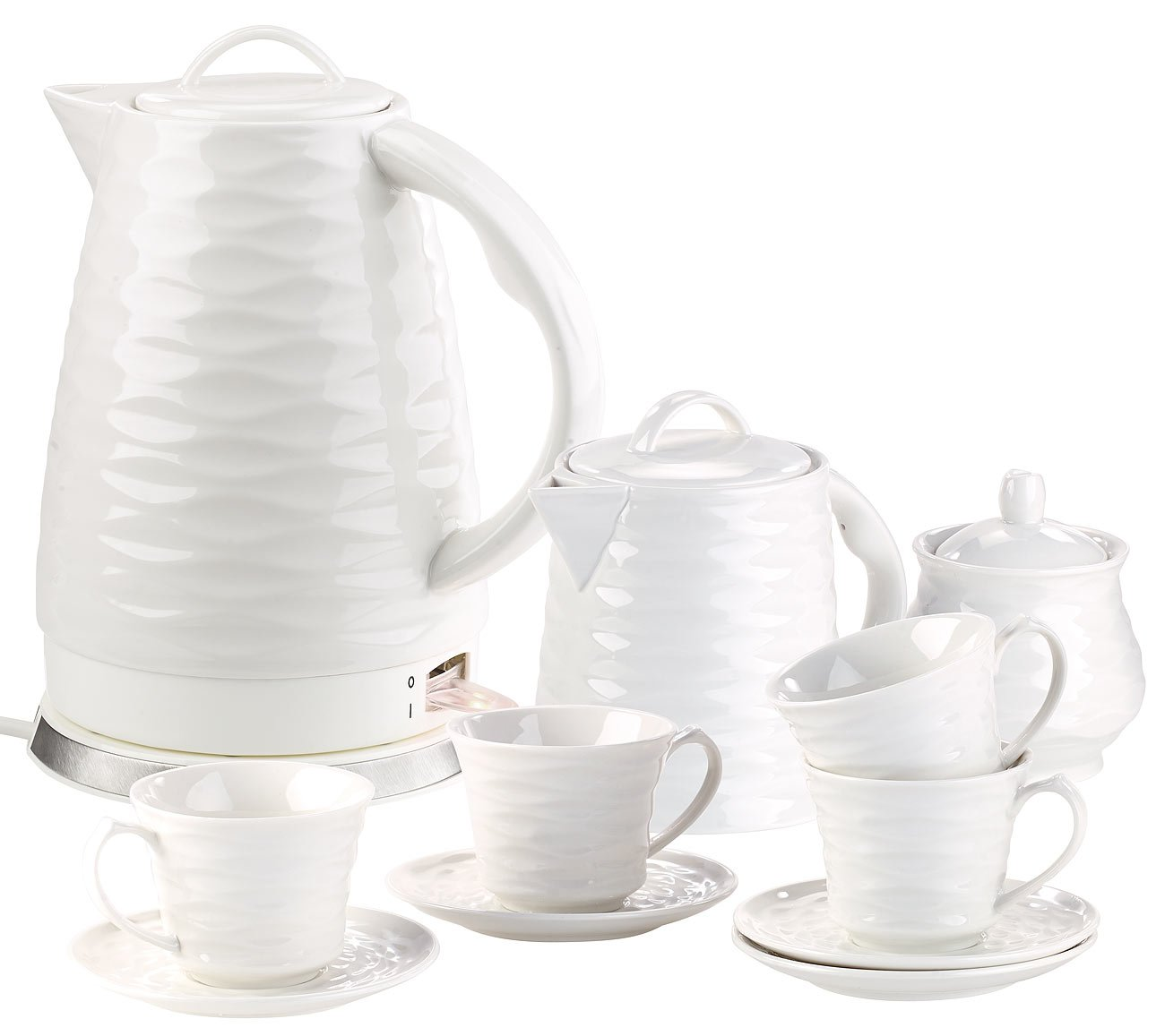 Rosenstein & Söhne Wasserkocher Keramik: Porzell-Wasserkocher WSK-270.rtr, 1,7 l, 1500W mit Kaffee-/Tee-Service (Schnurloser Wasserkocher)