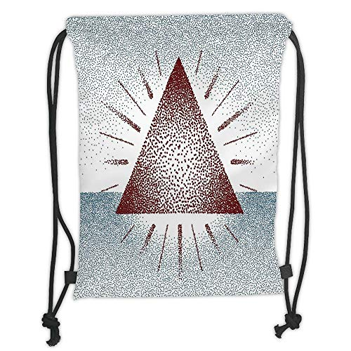GONIESA Drawstring Sack Backpacks Bags,Geometric Decor,Digital Triangle Form with Dots Retro Pyramid Spiritual Artsy Graphic,Burgundy Blue Soft Satin,5 Liter Capacity,Adjustable String Closure,