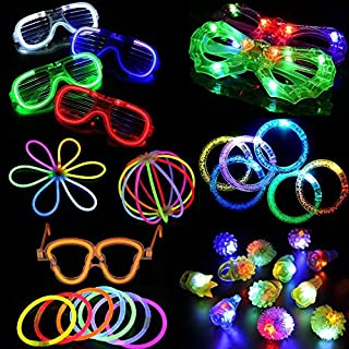 Acmee 74 Pieces LED Light Up Party Favor Toy Set.LED Party Pack with LED Accessories - 6 Flashing Bumpy Rings,6 Finger Lights,6 LED Bubble Bracelets,6 LED Glasses and 50 LED Glow Sticks