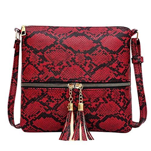Timogee Bolso de Mujer Bolsos Cruzados de Cuero de Leopardo Bolsos de Mensajero de Gran Capacidad Bolso de Hombro(rojo,One size)