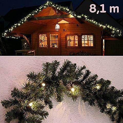 Guirlande lumineuse de Noël branche de sapin / imitation sapin 8,1 m avec 120 LED de Gartenpirat® - Usage intérieur et extérieur
