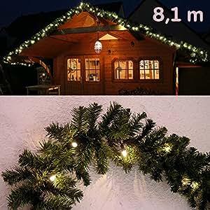 Abete ghirlanda illuminata lunghezza 810 centimetri con 120 LED / Gartenpirat®