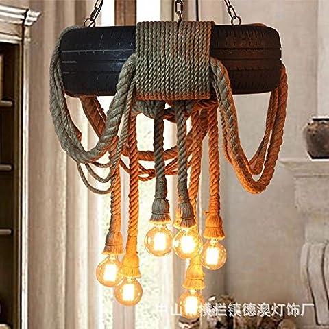 LINA-Industriale di personalità creative lampadari a bracci dello spago sisal lampadari di pneumatici American retrò soggiorno ristorante Cafe lampade di