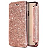 Custodia iPhone 7 Plus, Cover iPhone 8 Plus a Libro Bling Glitter, SainCat Custodia in Pelle Cover per iPhone 7/8 Plus, Ultra Sottile Anti-Scratch Book Style Custodia Morbida Protettiva Cover Ultra Soft PU Leather Cover Book Antiscivolo Custodia a Portafoglio Shock-Absorption Wallet Cover Supporto Skin Cover Shell Magnetico Flip Case, ID Slot per Scheda Protettiva Custodia Coperture Bumper Cover per iPhone 7/8 Plus 5.5-Oro Rosa