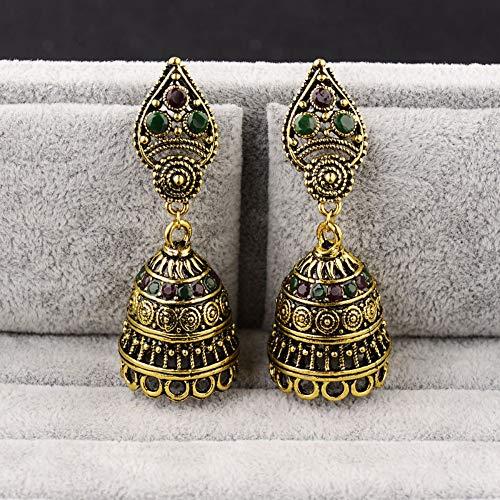 Orecchini a bottone donna,vintage oro antico indian handmade orecchini perline boemia colorate pietre acrilico festa nuziale gioielli per l'orecchio per signore personalizzato di moda vintage gioielli