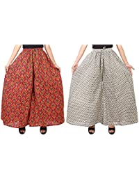 Fashion Store Women's Cotton Stylish Printed Full Flair Multi-Colored Plazo (Free Size, Set Of 2)
