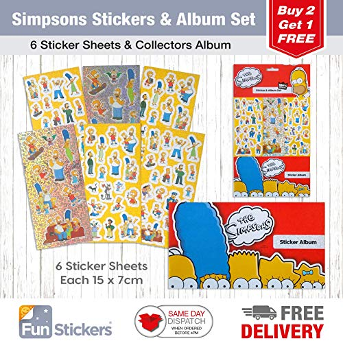 The Simpsons Stickers, 6 Sheets, Each Sheet 14 x 7cm with Sticker Album Simpsons Aufkleber