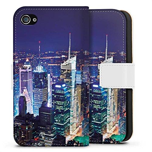 Apple iPhone X Silikon Hülle Case Schutzhülle Stadt Skyline Big City Sideflip Tasche weiß