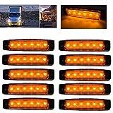 Enjoydeal 10x 6LED Seitenleuchten für LKW Bus Trailer Indikatoren Lichter Seitenmarkierungsleuchte 12V Gelb