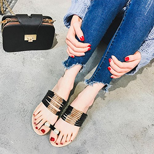 Kaiki Frauen Sandalen Lace Blumen Sommer Slip-on Flats Sandalen Casual Damen Schuhe Black
