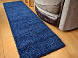 Soft Touch Shaggy Navy Blue Thick Luxurious Soft 5cm Dense Pile Rug. Available in 9 Sizes (66cm x 230cm)