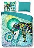 HIP 4943 Wende-Bettwäsche Explorer mit Ein Elefant und Blauen/grünen Figuren, Mehrfarbig 155x220 cm