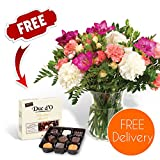 Gifts Flowers Food Best Deals - Fresh Flowers Delivered - FREE UK Delivery - Pastel Carnations and Freesias Bouquet with FREE Chocolates, Flower Food and BONUS Ebook Guide - Perfect for birthdays, anniversaries and thank you gifts