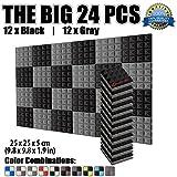 Super Dash 24 Pieces de 25 x 25 x 5 cm Insonorisation Pyramide Acoustique d'isolation Traitement de Mousses Carreaux Panneaux SD1034 (NOIR & GRIS)