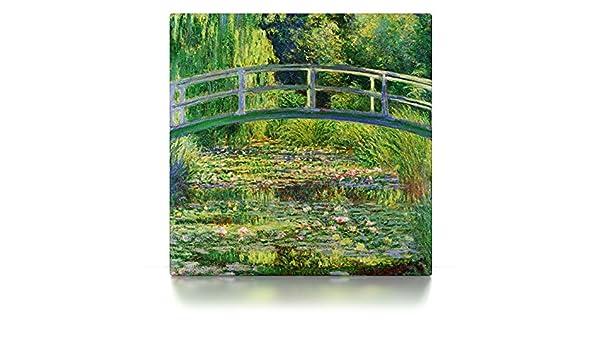 Claude Monet CanvasArts Seerosenteich // /& japanische Br/ücke 40 x 40 cm, Leinwand auf Keilrahmen Leinwandbild Wasserlilien