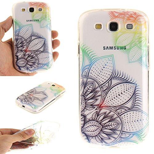 Samsung Galaxy S3 / I9300 hülle,MCHSHOP Ultra Slim Skin Gel TPU hülle weiche Silicone Silikon Schutzhülle Case für Samsung Galaxy S3 / I9300 (4,8 Zoll) - 1 Kostenlose Stylus (Schwarze Mandala Blume) Traumblume
