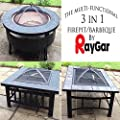RayGar Multifunctional 3 in 1 Outdoor Garden Fire Pit BBQ Ice Pit Patio Heater Stove Brazier Metal Firepit + Protective Cover - New