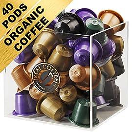 CUBE w. Organic Nespresso Compatible Pods. 40 Capsules Storage Box