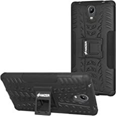 Amzer Defender Tough Hybrid Armour Shockproof with Kick Stand Rugged Back Case Cover for Lenovo Phab 2 - Black/Black