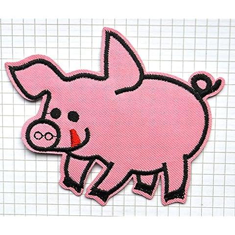 Pink Pig Smile ricamato panno ferro su