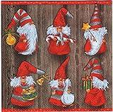 40 Servietten 33x33cm Motiv: Weihnachtswichtel Charming Christmas Papierservietten Partyservietten Zellstoff