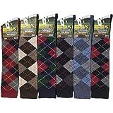 6 Pairs Men's knee High Golf Design Argyle Rich Cotton Equestrian Horse Riding Boot Socks,Christmas Gift Socks,Uk Size 6-11 R