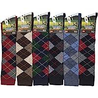 6 Pairs Men's knee High Golf Design Argyle Rich Cotton Equestrian Horse Riding Boot Socks,Christmas Gift Socks,Uk Size 6…