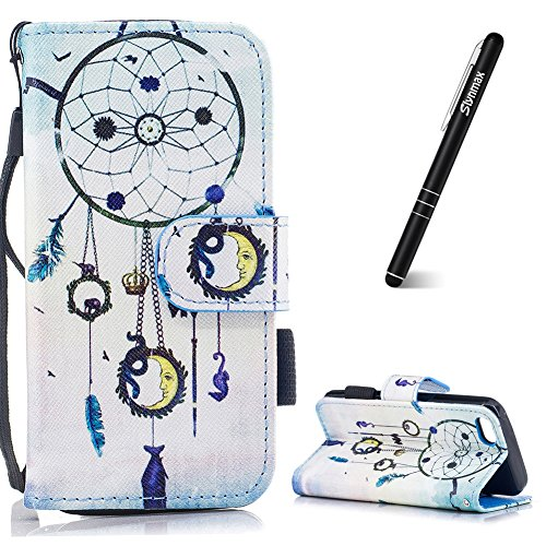 Slynmax Coque pour iPhone 5C,Housse de Protection iPhone 5C, Etui en PU Cuir Portefeuille Cover Campanula Motif Peint Mode Glitter en Magnétique et Cartes Slots de Protection Leather Couvertu