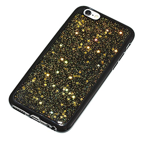iPhone 6/6S (4.7 inch) Miroir Cover Case,iPhone 6/6S (4.7 inch) Case Glitter,Hpory Beau élégant Luxury Ultra Thin Soft TPU Gel Silicone Cristal Clair Bling Brillant Miroir Placage Ours Bling Glitter R Star,Or