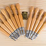 SIMILK 12 Set SK7 Carbon Steel Tools for Wood Carving with Protective Cover, Crafting Chisel tools with Leather Finger Guard & Storage Case & Graver Whetstones