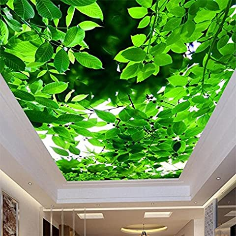 LWCX Benutzerdefinierte Wandbild Decke Wallpaper 3D Stereo Grüne Blätter Natur Foto Tapeten Rollen 250X180CM