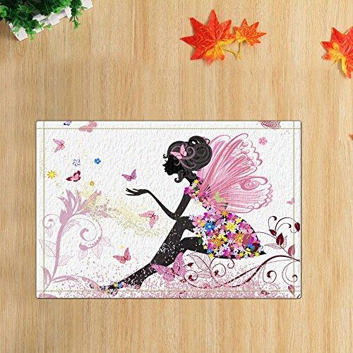 (gohebe Pink Butterfly Fairy Girl Bad Teppiche rutschhemmend Rechteck Boden Eingänge Outdoor Innen vorne Fußmatte, 40,6x 61cm Badteppich)