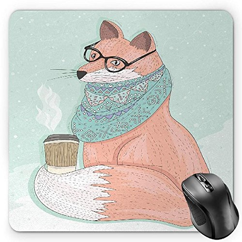 HYYCLS Animal Mauspads, Cute Hipster Fox with Glasses and Scarf Drinking Coffee Hippie Illustration, Standard Size Rectangle Non-Slip Rubber Mousepad, Coral Mint Green