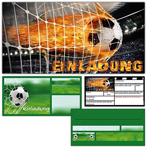 12er Set Fußball Einladungskarten inklusive Umschläge zum Kindergeburtstag oder Fussball-Party - Einladungen für Kinder & Erwachsene von BREITENWERK®
