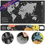 #benehacks Weltkarte Zum Rubbeln in Englisch - Rubbelweltkarte - Landkarte Zum Freirubbeln (Farbe Silber/Schwarz 84 x 44 cm)