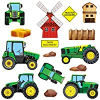 THE ULTIMATE FARM TRACTORS & DIGGERS WALL STICKERS COLLECTION, M3 GreenFamilyTrac Trac.2.1.M, Medium Glossy 100cm by 25cm Vinyl, 16-Piece Tractor/Digger Set, Green Colour.