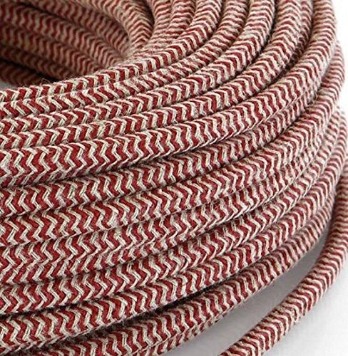 Elektrische Kabel in farbigem Stoff beschichtet. Made in Italy! 5 Meter 2x0, 75 Farbe: Sand / Kirsch Rot - Haus Kirsch