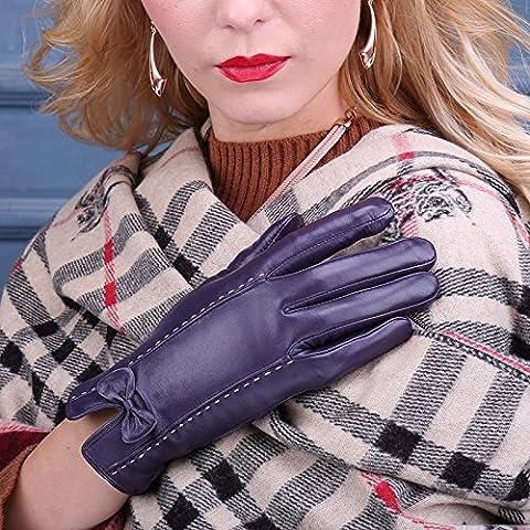 JQAM Guanti donna autunno inverno montone Leisure Touchscreen caldo all'aperto ciclismo antivento ispessimento guanti di (Scopo Esterno Raso)