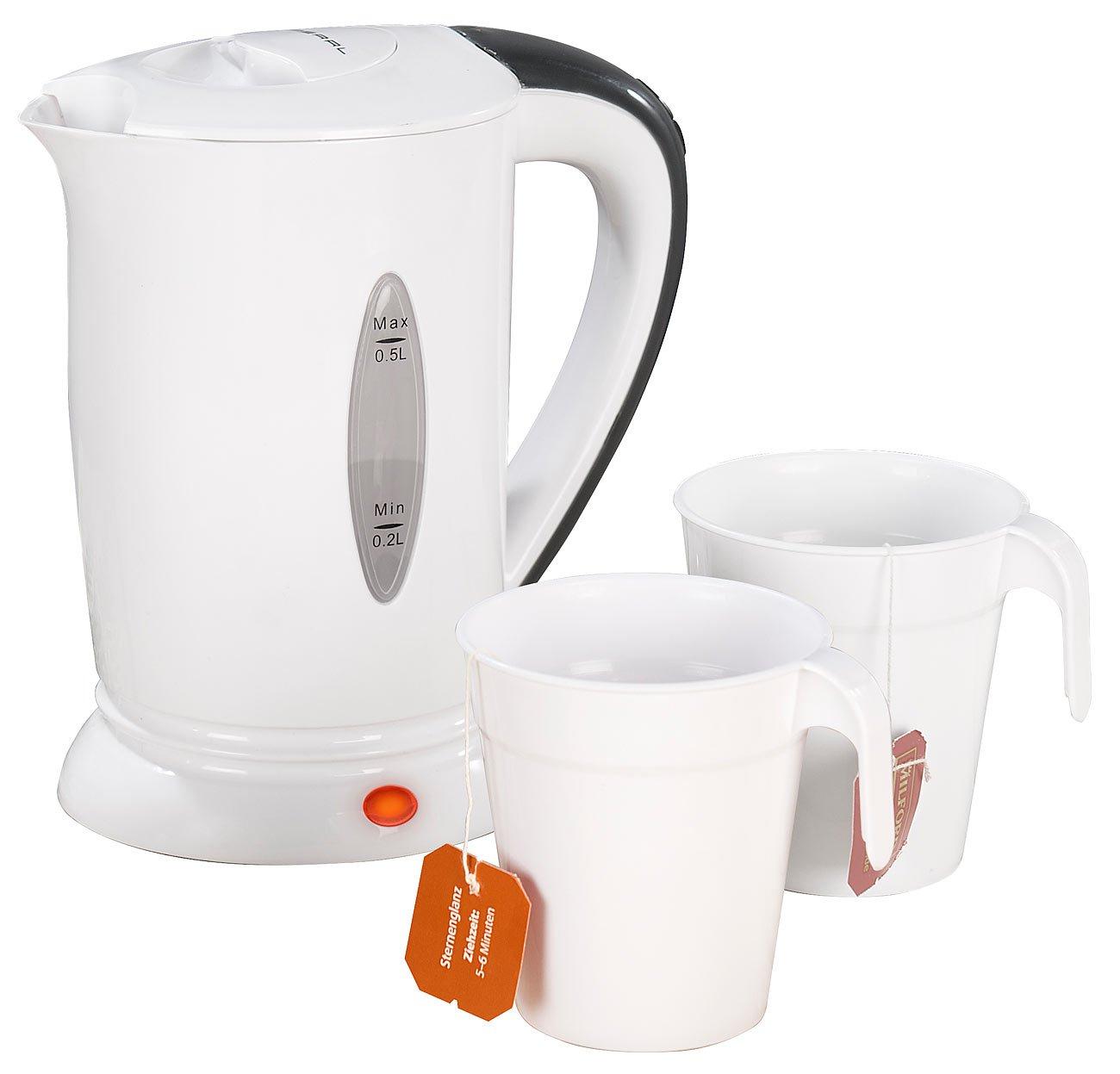 PEARL-Reisewasserkocher-Reise-Wasserkocher-mit-2-Bechern-110230-Volt-650-Watt-500-ml-Mini-Wasserkocher